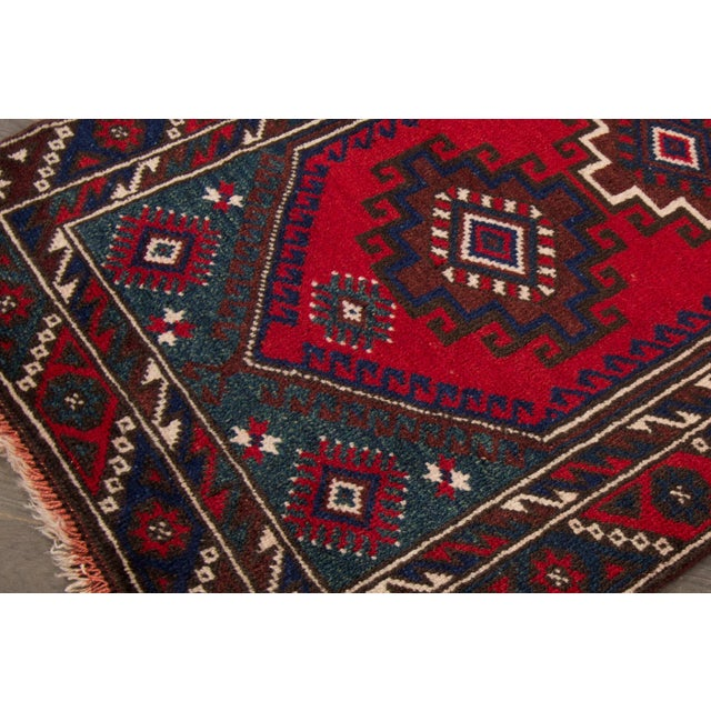 Vintage hand-knotted Pakistani Balouch/Baluch rug with a geometric motif. This piece has a great design and beautiful...