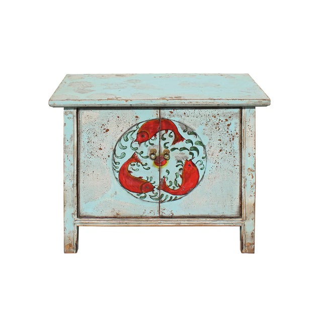 Asian Chinese Distressed Light Pale Blue Fishes Graphic Table Cabinet For Sale - Image 3 of 8