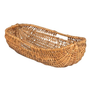 French Auvergne Region Wicker Basket For Sale