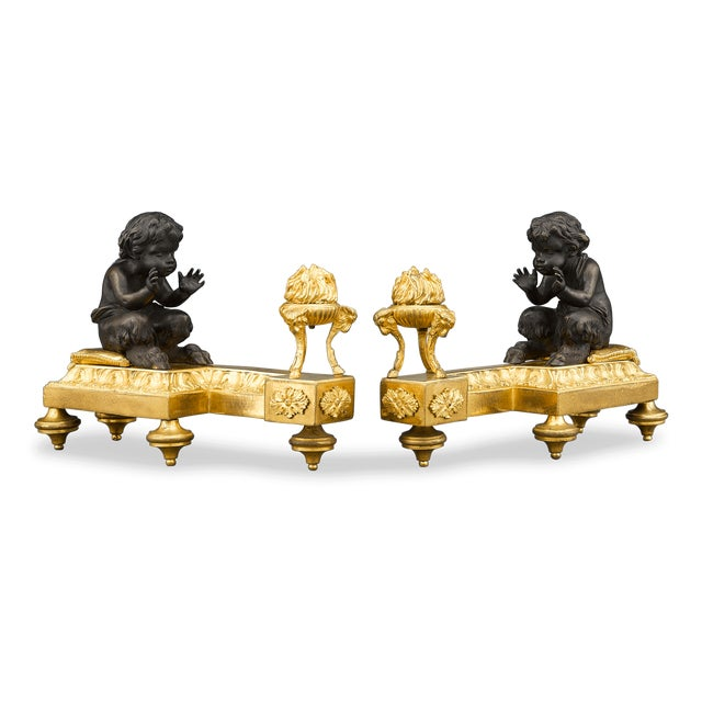 Louis XVI Bronze Chenets For Sale - Image 5 of 5