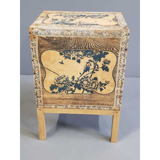 Japanese Antique Japanese Tea Crate on Stand Side Table For Sale - Image 3 of 13