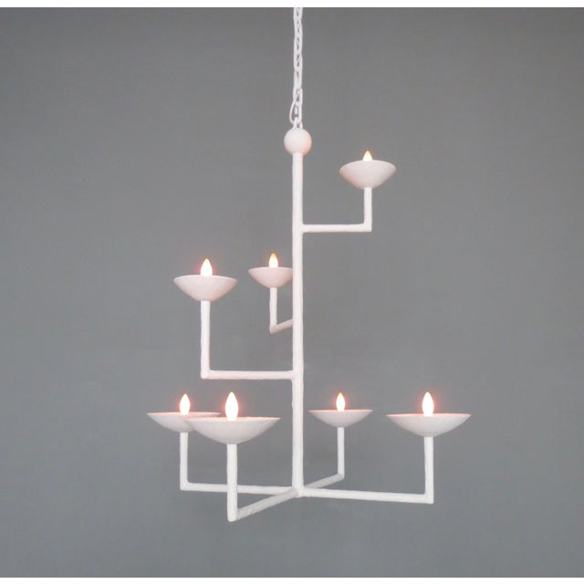 White 7 Cup Plaster Chandelier With Chain For Sale - Image 8 of 8