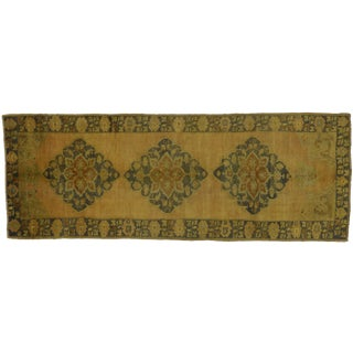 "Vintage Turkish Oushak Neutral Colors Wide Hallway Runner Rug - 4'8"" X 12'6"" For Sale"