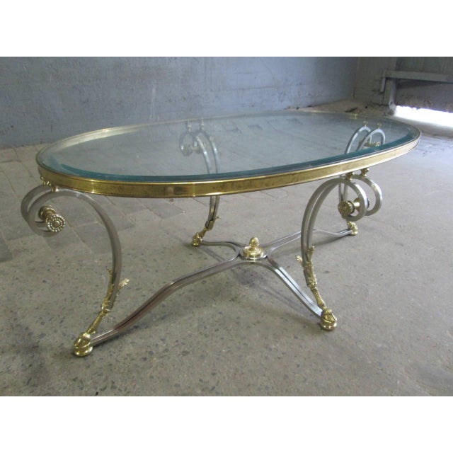 Polished Steel and Brass Coffee Table Manner of Maison Jansen - Image 3 of 9