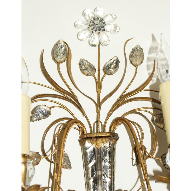 Mid Century French Glass & Gilt Metal Icicle Sconces - a Pair For Sale In Raleigh - Image 6 of 7