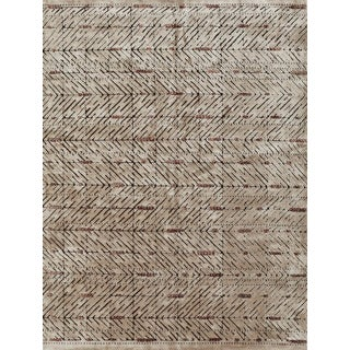 Schumacher Patterson Flynn Martin Yorubu Hand Knotted Wool Silk Geometric Rug For Sale