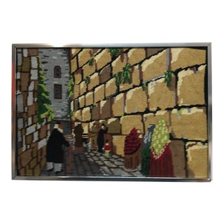 """1970s Vintage """"At the Wailing Wall"""" Original Framed Needlepoint Art For Sale"""