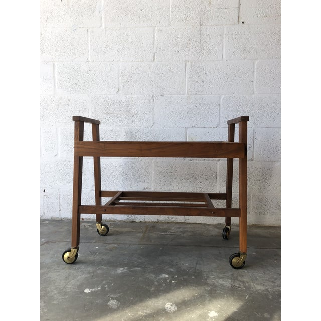 Vintage Mid Century Modern Danish Style Rolling Media Cart For Sale In Miami - Image 6 of 13