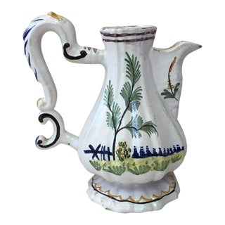 19th Century Italian Faience Pitcher For Sale