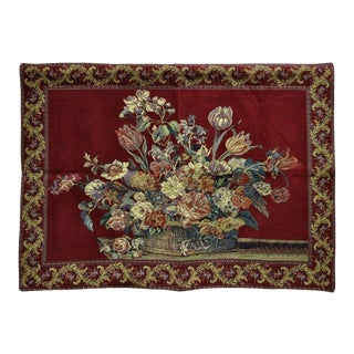 """51"""" X 36"""" French Wall Hanging Tapestry Jacquard Acanthus Floral Still Life Red For Sale"""