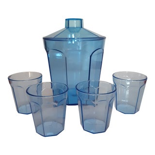 1980's Le Glass Acrylicware Ice Bucket and Glass Set - 5 Pieces For Sale