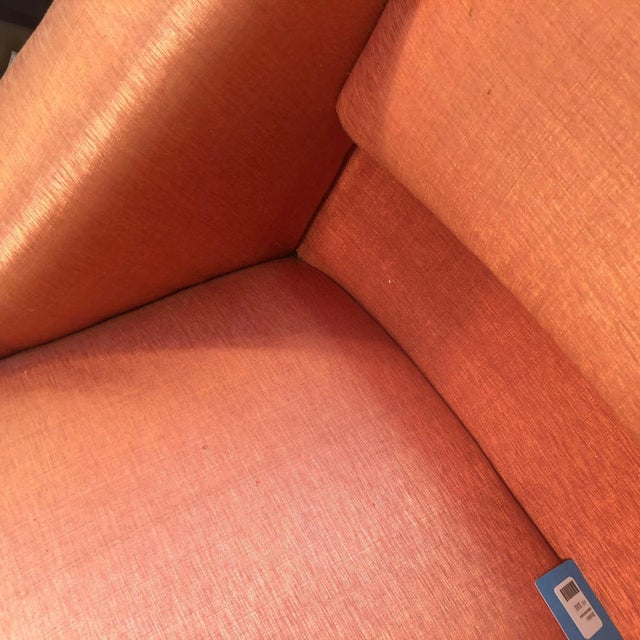 Orange Silk Upholstered Armchair For Sale - Image 10 of 13