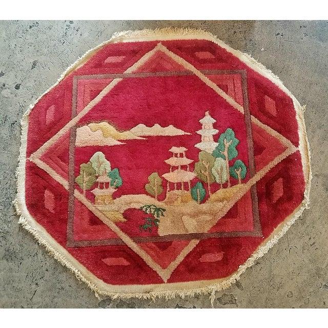 Art Deco Art Deco Helen Fette Oriental Table Rug Red For Sale - Image 3 of 3