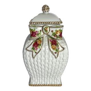 Royal Albert Old Country Roses White Basketweave & Ribbons, Ginger Jar, Cookie Jar For Sale
