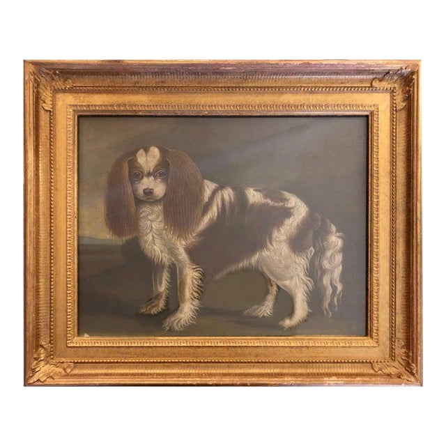 Late 20th Century Portrait of a Cavalier King Charles Spaniel Oil on Canvas Painting For Sale