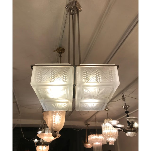 French Art Deco Chandelier by Hettier and Vincent For Sale - Image 9 of 12