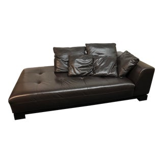 Extra Wide Leather Chaise by Zgallerie For Sale