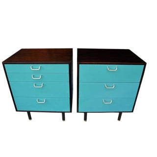 Mahogoany and Teal Color Modern Nightstands by Harvey Probber - a Pair For Sale
