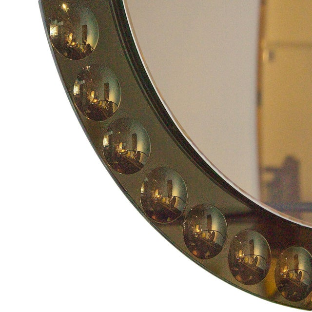 1950s Round Mirror, Intaglio Grey-Green Mirror Frame - Italy For Sale - Image 4 of 7