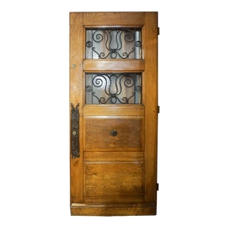 Mid 19th Century Double Window Door with Decorative Knob Plate For Sale