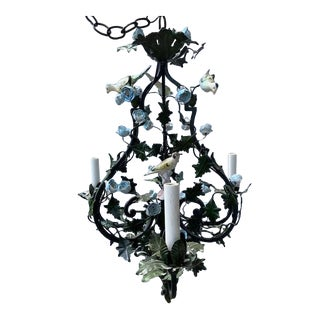 French Custom Made Porcelain Bird Chandelier For Sale