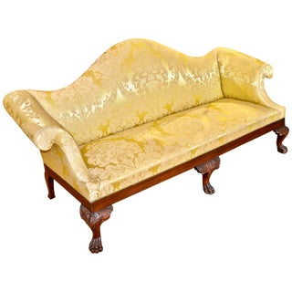 American Philadelphia Style Hairy Paw Foot Camelback Sofa, 19th Century For Sale