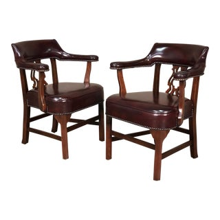 Kimball Oxblood English Traditional Side Chairs With Nailhead Trim - A Pair
