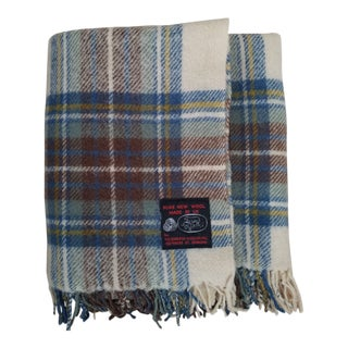 Vintage Scottish Plaid Wool Throw Blanket For Sale