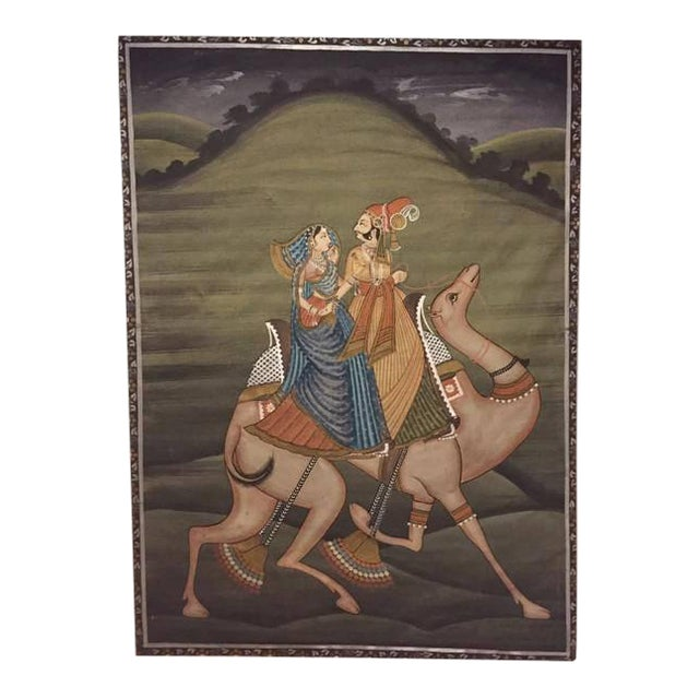 """Mid Century Modern India Silk Painting Camel Ride - 45"""" For Sale"""