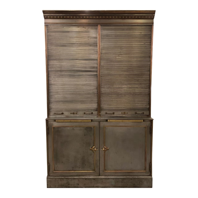 Antique Steel and Brass Roll Top Valuables Safe Display Cabinet For Sale