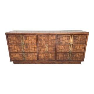 1970s Brutalist Walnut Lowboy Dresser