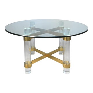 1970's Lucite & Brass Dining Table by Charles Hollis Jones For Sale