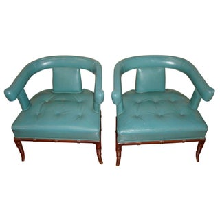 Vintage Hollywood Regency Bamboo Chairs in Teal