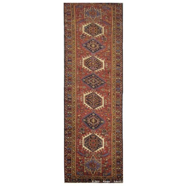 Vintage Handmade Persian Karaje Rug - 3'6''x14'1'' For Sale