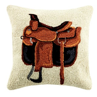 Equestrian Bag Hooked Wool Pillow For Sale