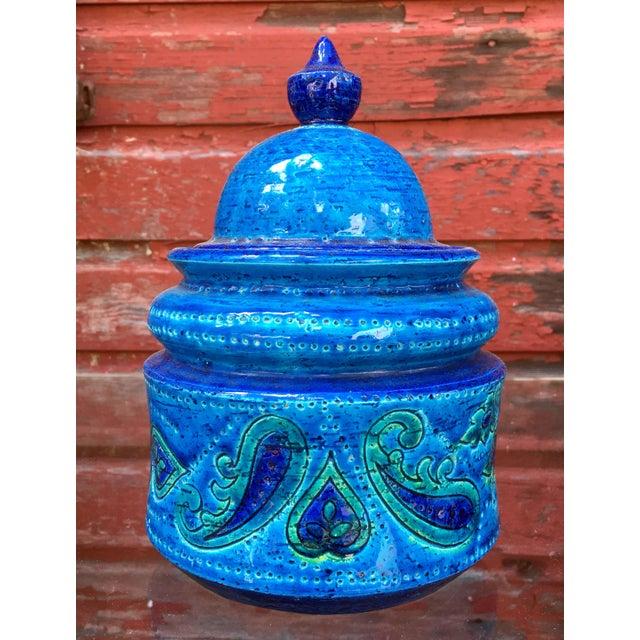 Ceramic Vintage Mid-Century Modern Bitossi Blue Art Pottery Lidded Jar For Sale - Image 7 of 8