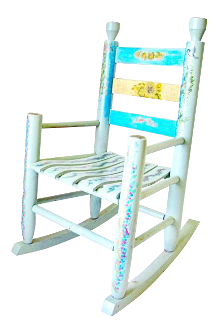 Antique Small Blue Childs Rocking Chair