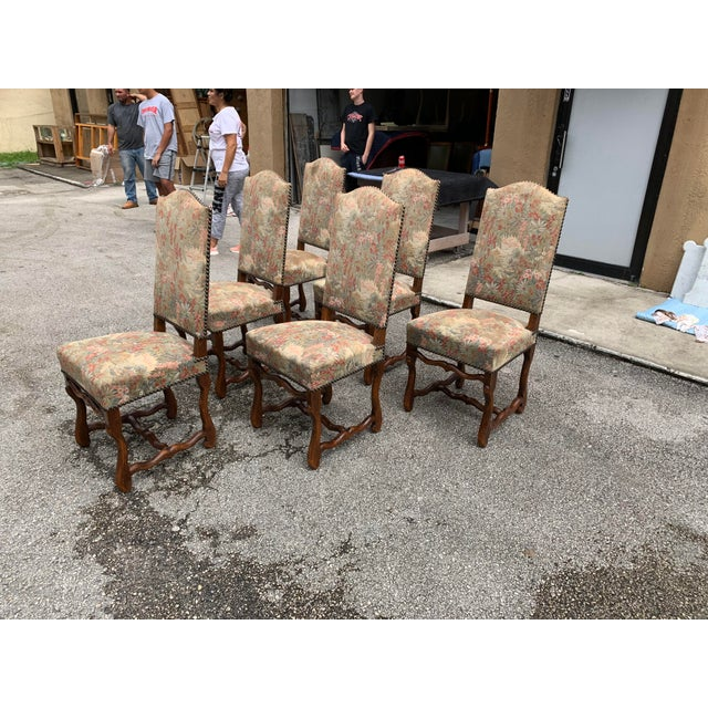 1900s Vintage French Louis XIII Style Os De Mouton Dining Chairs - Set of 6 For Sale - Image 4 of 12