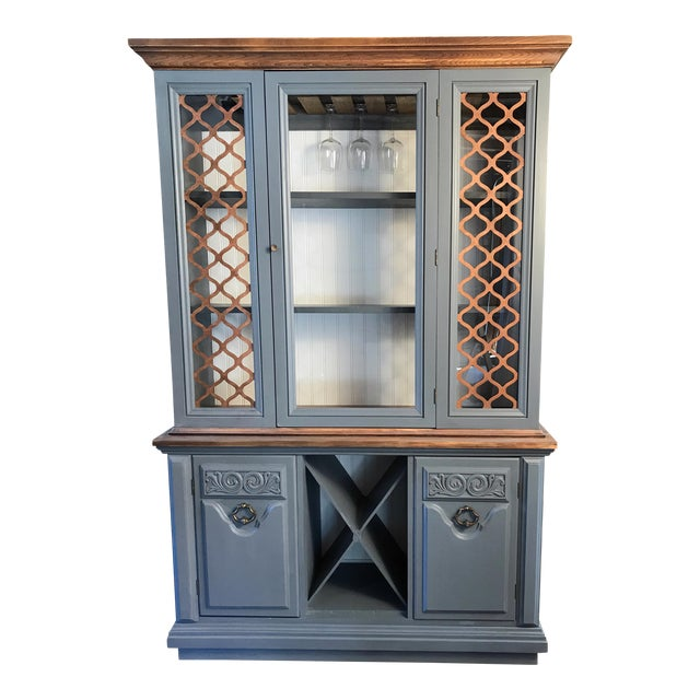 Gray Chalk Painted Wine Cabinet - Image 1 of 8
