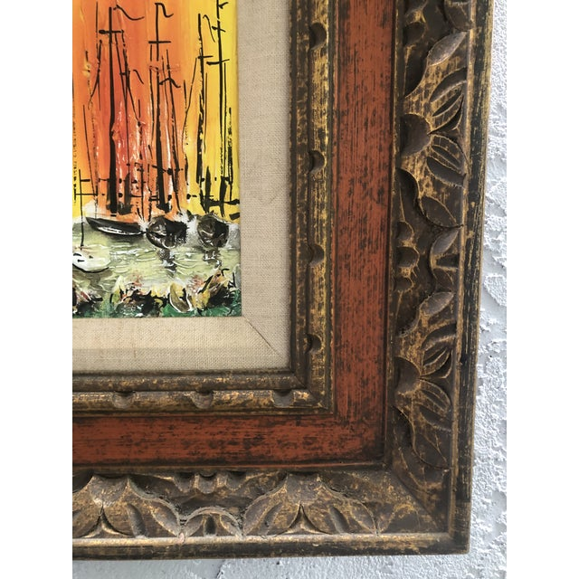 Orange 1970s Style Modern Ships Small Painting For Sale - Image 8 of 11