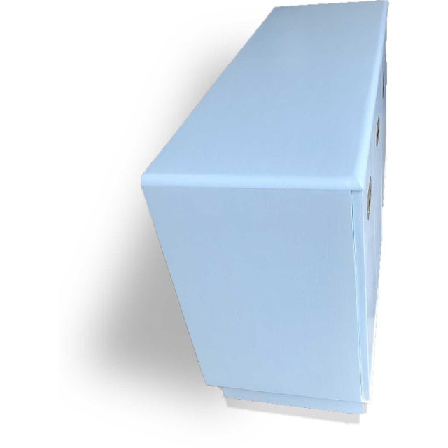 1960s Campaign Style Mid-Century Modern Credenza in Blue For Sale - Image 4 of 9