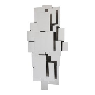 Reggiani Style Polished Steel Wall Light Sculpture For Sale