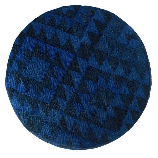 Arshs Deandrea Blue/Drk. Blue Kilim Upholstered Handmade Ottoman For Sale - Image 4 of 8