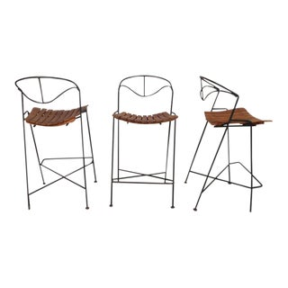 Wrought Iron Bar Stools by Arthur Umanoff - Set of 3 For Sale