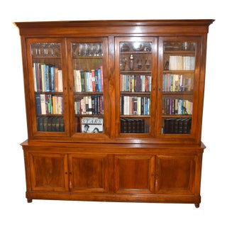 18th Century Light Oak Breakfront Bookcase For Sale
