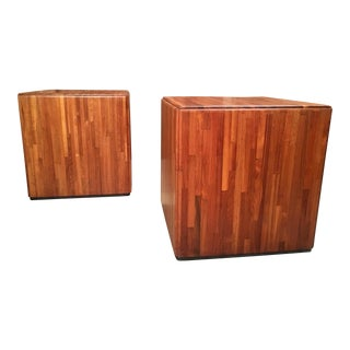 Mid-Century Modern Lou Hodges Cube Tables - a Pair For Sale