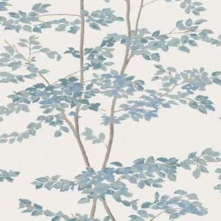 Lewis & Wood Beech Bluegrass Botanic Style Wallpaper Sample For Sale