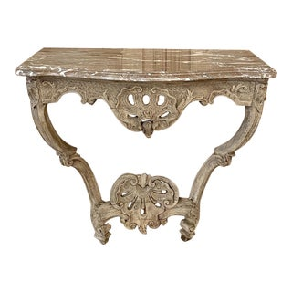 18th Century French Regence Marble Top Stripped Console For Sale