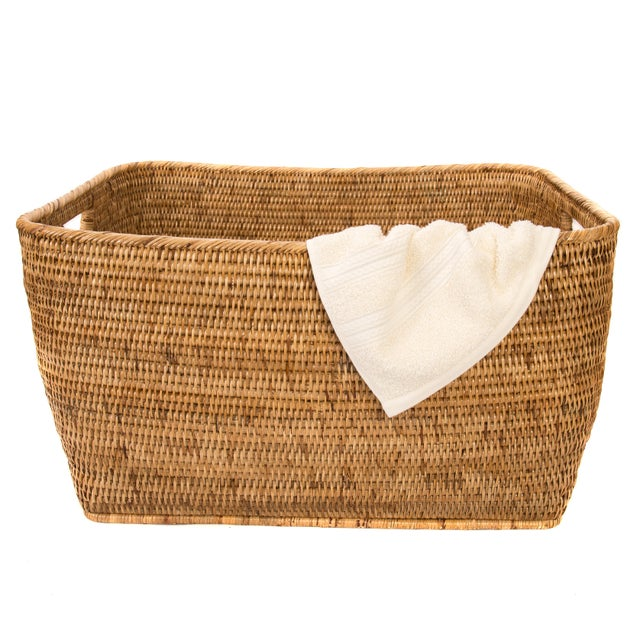 Boho Chic Artifacts Rattan Rectangular Basket For Sale - Image 3 of 4