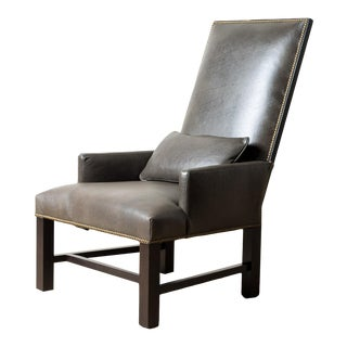 Lee Industries Leather Webbed Back Chair For Sale